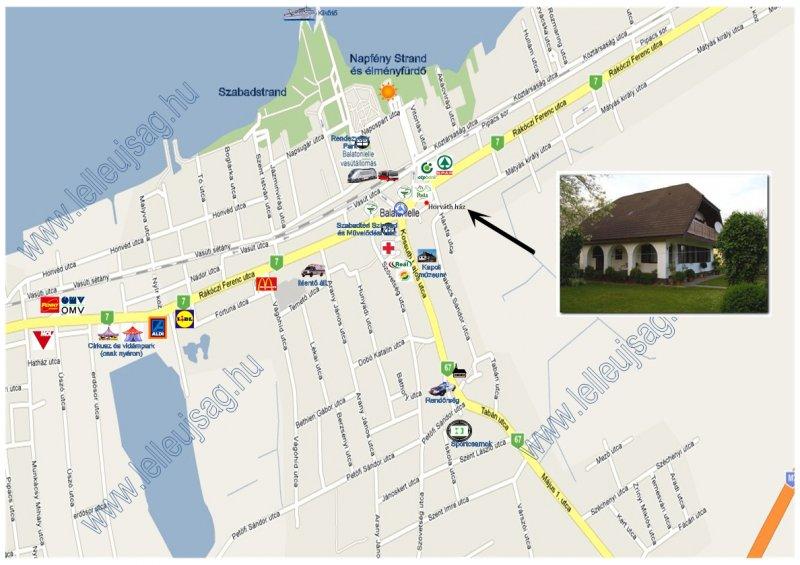 A ház és néhány fontosabb létesitmény elhelyezkedése Lellén